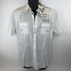 Roar Embroidered White Button Down Long Sleeve
